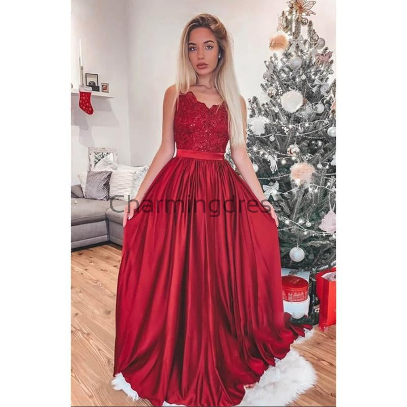 A-line Cheap Long Splaghetti Straps Red Lace Modest Prom Dresses PD2142