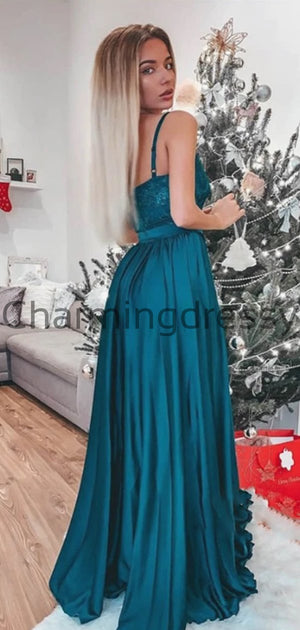 A-line Cheap Splaghetti Straps Turquoise Lace Modest Long Prom Dresses PD2143