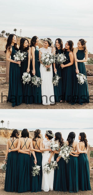 A-line Dark Green Cheap Beach Summer Bridesmaid Dresses WG843