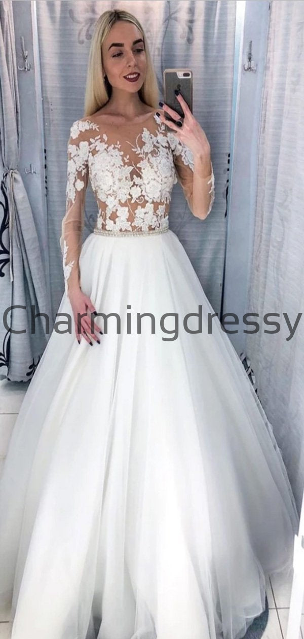 A-line Dream Simple Vintage Wedding Dresses With Long Sleeves WD0471
