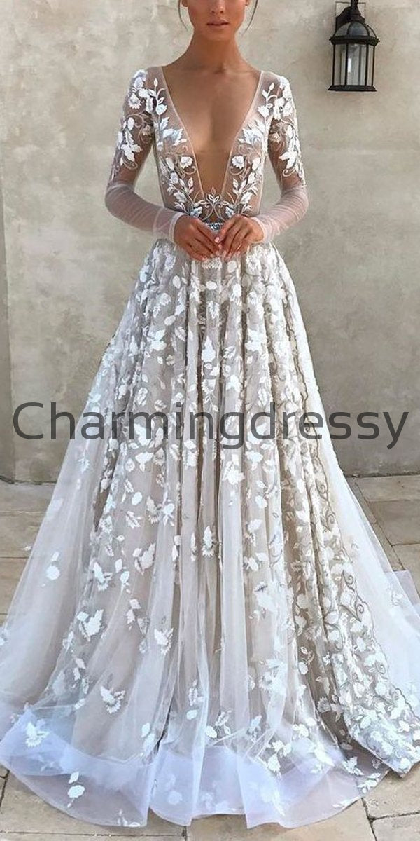 A-line Dream Unique Vintage Wedding Dresses With Long Sleeves WD0472