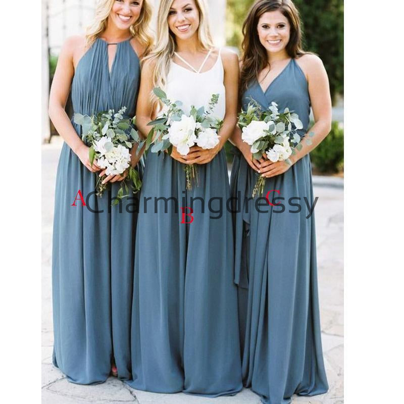 A-line Dusty Blue Long Chiffon Mismatched Long Bridesmaid Dresses WG844