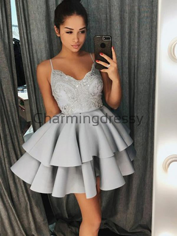 A-line Gray Spaghetti Straps Lace Short Homecoming Dresses BD0424