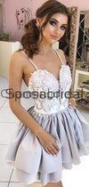 A-line Gray Spaghetti Straps Unique Lace Short Homecoming Dresses BD0425