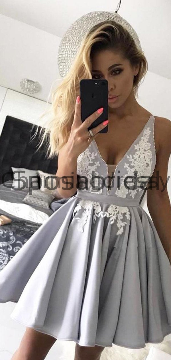 A-line Gray Spaghetti Straps V-Neck Popular Homecoming Dresses BD0426
