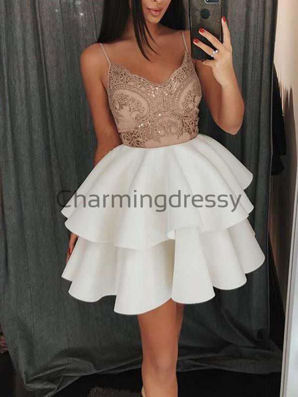 A-line Hot Spaghetti Straps Lace Short Homecoming Dresses BD0427