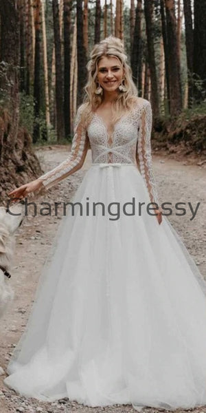 A-line Lace Long Sleeves Beach Dream Vintage Wedding Dresses WD0476