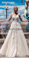 A-line Lace Long Sleeves Dream Vintage Wedding Dresses WD0477