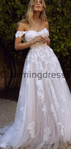 A-line Lace Off the Shoulder Beach Country Wedding Dresses WD0478