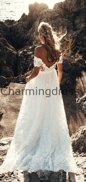 A-line Lace Off the Shoulder Beach Vintage Wedding Dresses WD0479