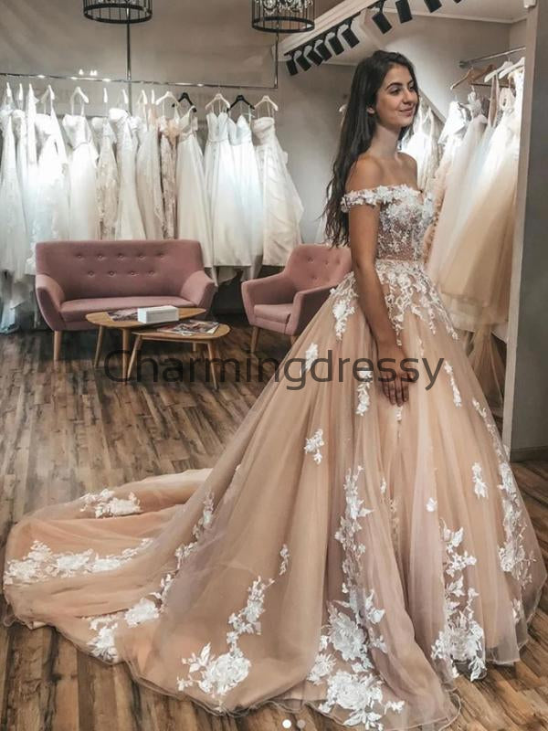 A-line Lace Off the Shoulder Champagne Vintage Wedding Dresses WD0480