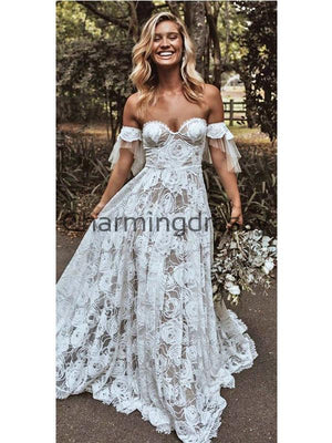 A-line Lace Off the Shoulder Dream Vintage Wedding Dresses  WD0481