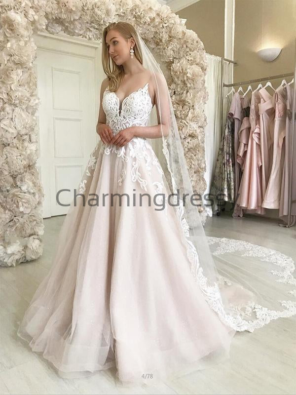 A-line Lace Straps Vintage Satin Country Dream Wedding Dresses WD0374