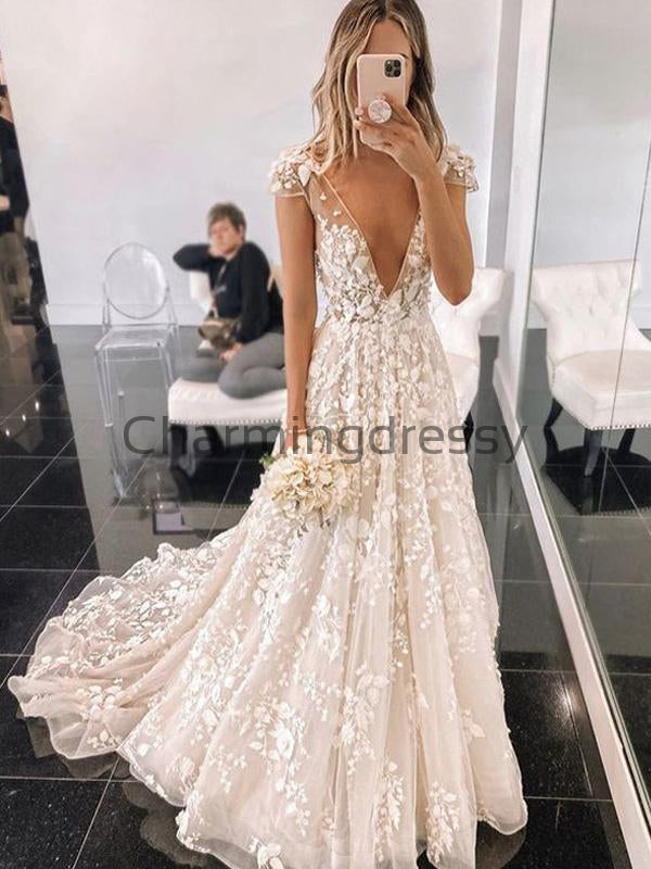 A-line Lace V-Neck Vintage Cap Sleeves Romantic Wedding Dresses WD0376