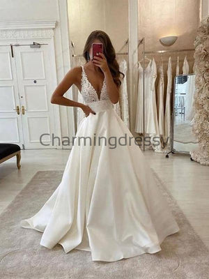 A-line Lace V-Neck Vintage Satin Country Romantic Wedding Dresses WD0378