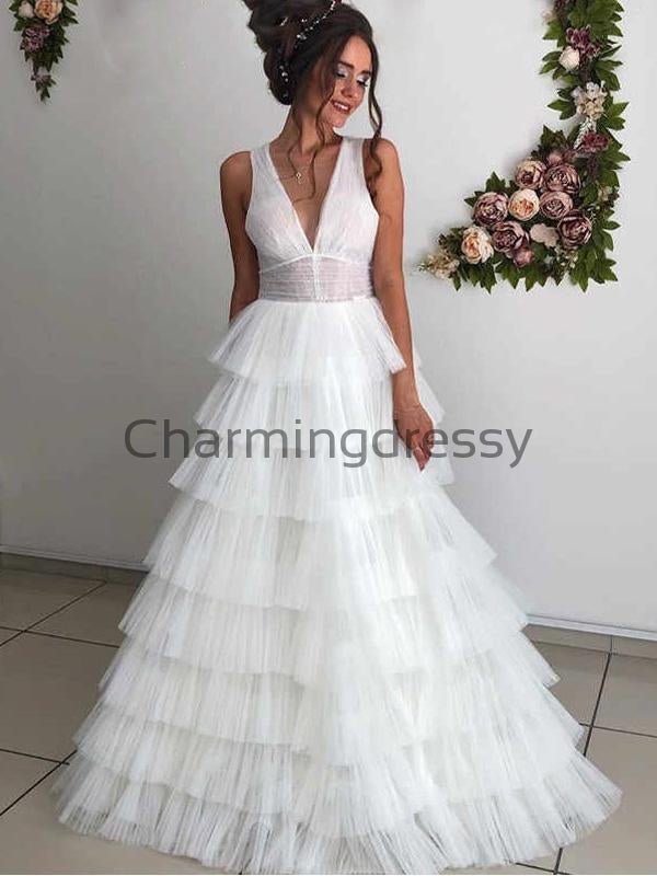 A-line Lace V-Neck Vintage Tulle Country Romantic Wedding Dresses  WD0377