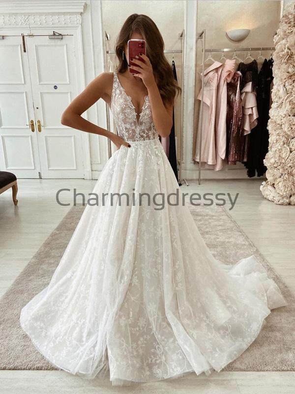 A-line Lace Vintage Country Wedding Dresses, Modest Prom Dresses WD0370