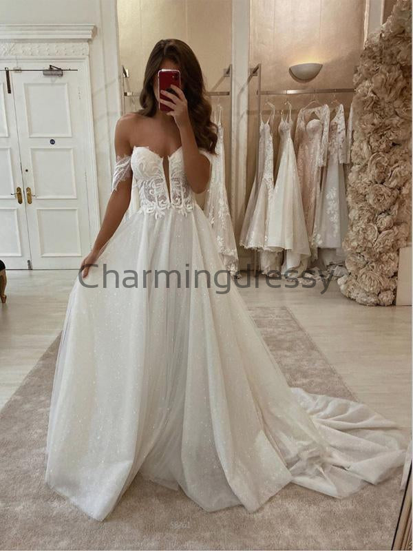 A-line Lace Vintage Sparkly Off the shoulder Wedding Dresses, Modest Prom Dresses WD0371