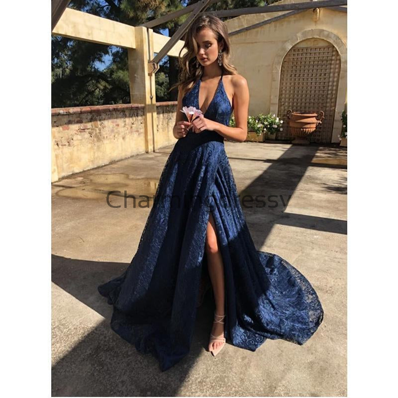 A-line Navy Blue Lace Fashion Popular Prom Dresses, Evening Dresses PD2186