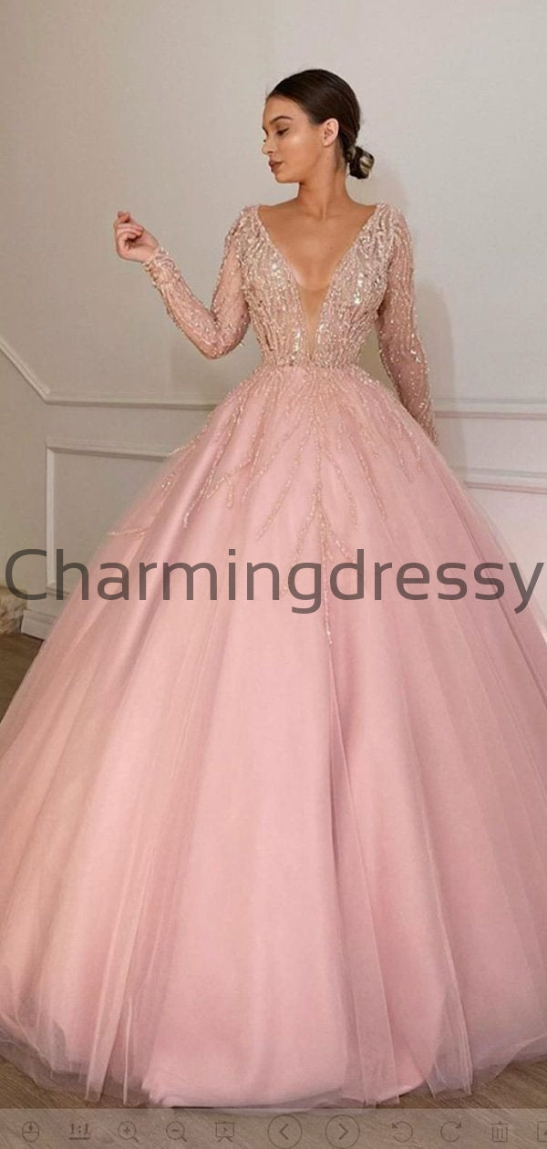 A-line Pink Long Sleeves Tulle Modest Long Prom Dresses, Ball Gown PD2187