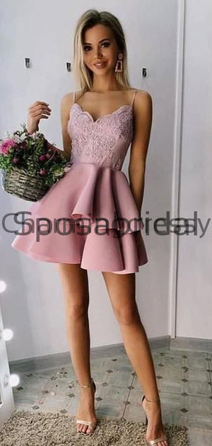 A-line Pink Red Spaghetti Straps Lace Short Homecoming Dresses BD0430
