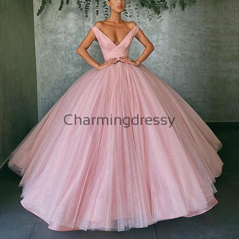 A-line Pink Tulle V-Neck Formal Elegant Prom Dresses PD2154