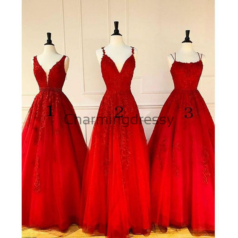 A-line Red Mismatched Lace Cheap Long Hot Prom Dresses PD2139
