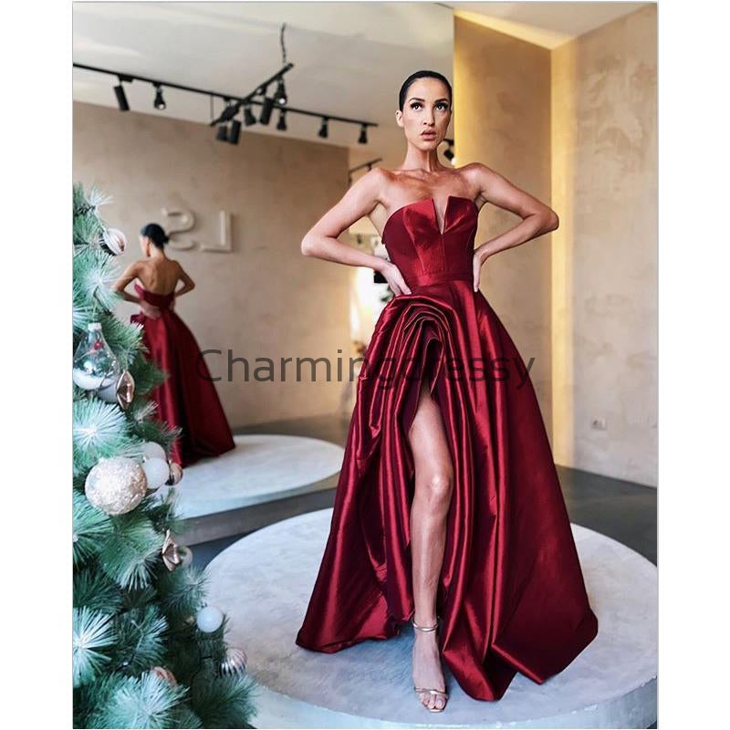 A-line Red Satin Cheap Strapless Simple Formal Prom Dresses PD2155