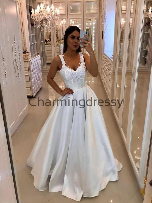 A-line Satin Dream Simple Vintage Wedding Dresses, Ball Gown WD0482