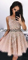 A-line Short Round Neck Tulle Unique Homecoming Dresses  BD0434