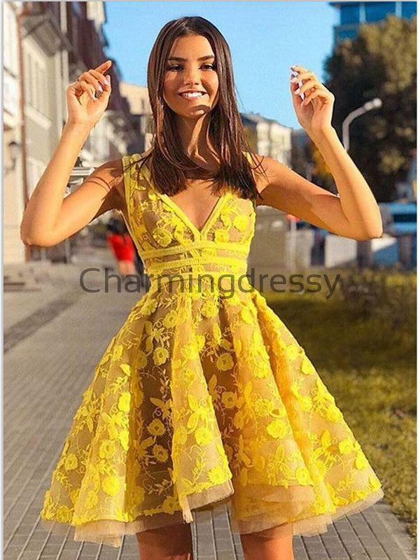 A-line Short Yellow V-Neck Lace Modest Homecoming Dresses BD0436