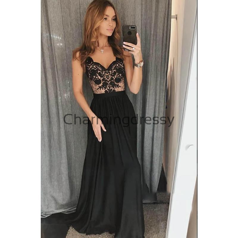 A-line Spaghetti Straps Black Lace Modest Long Prom Dresses PD2156