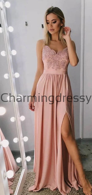 A-line Spaghetti Straps Popular Lace Modest Prom Dresses PD2157