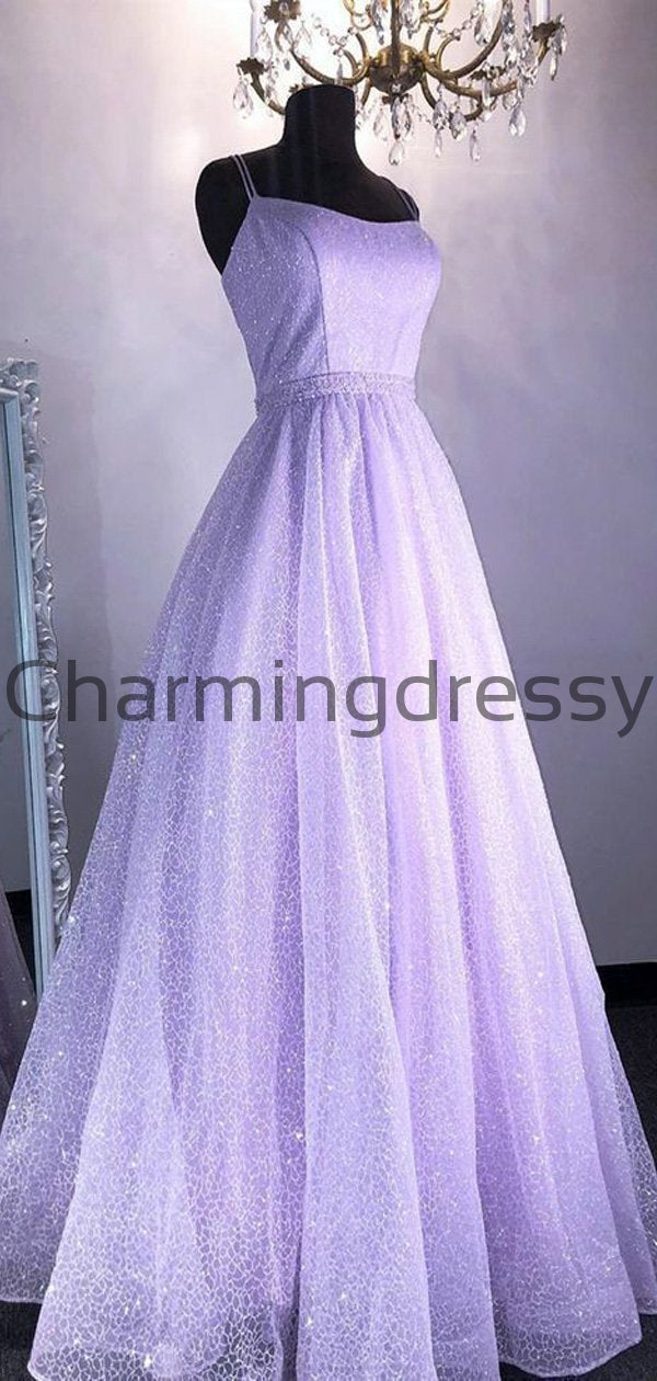 A-line Sparkly Sequin Unique Purple Lilac Modest Prom Dresses PD2189
