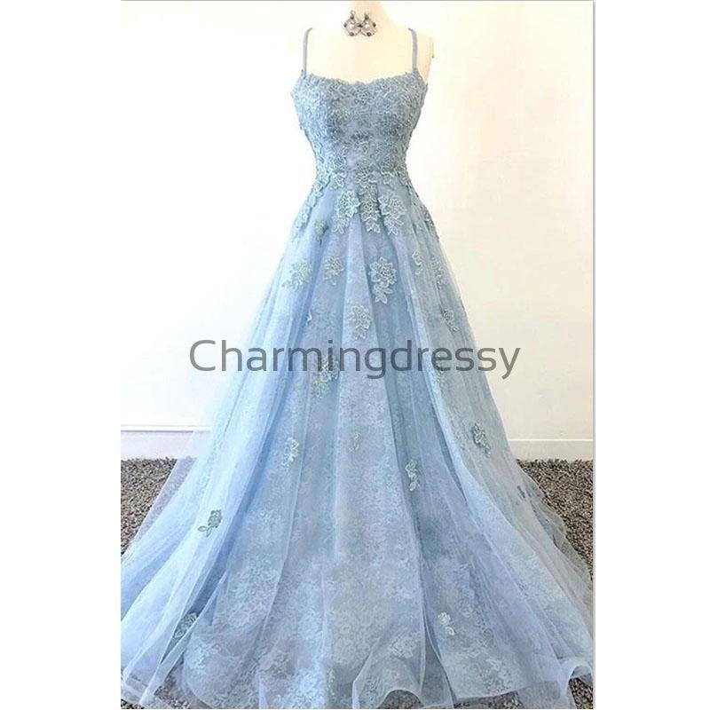 A-line Straps Blue Lace Elegant Hot Long Prom Dresses PD2163