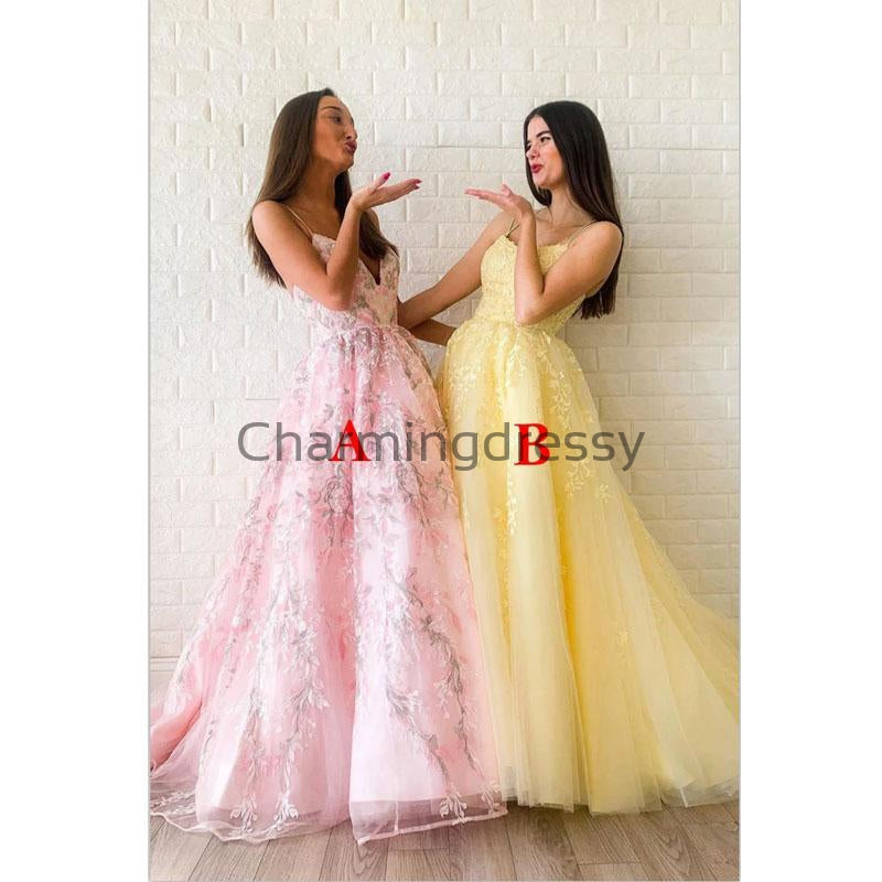 A-line Straps Yellow Pink Lace Modest Formal Long Prom Dresses PD2145