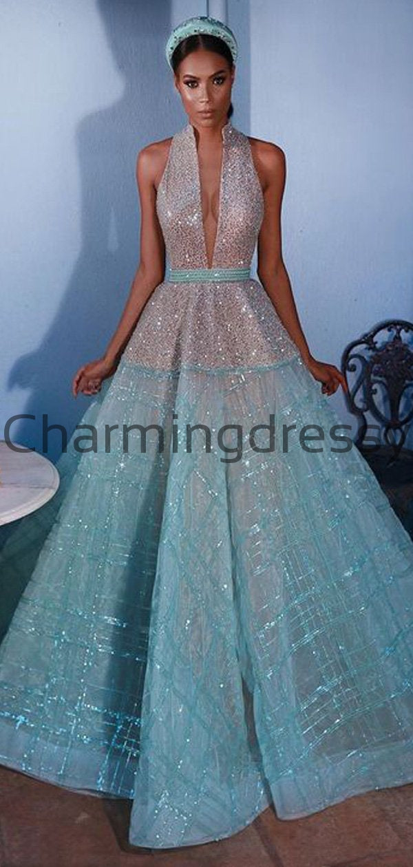 A-line Unique Sparkly Sequin Hign Neck Modest Long Prom Dresses PD2191