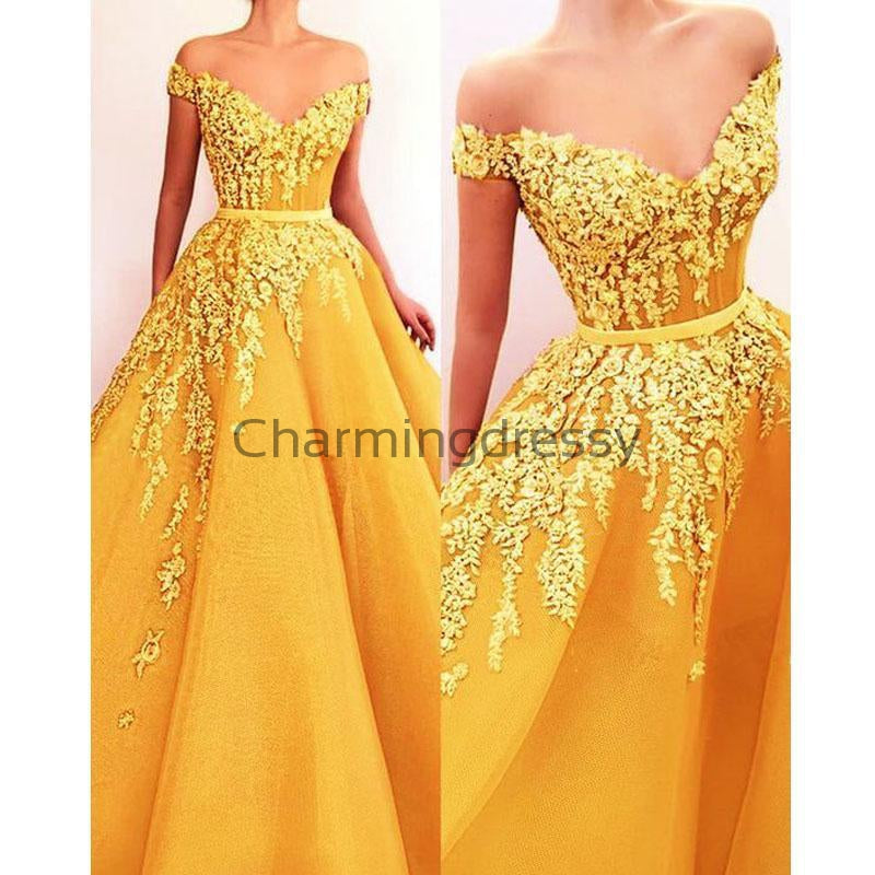 A-line Yellow Appliques Off the Shoulder Elegant Prom Dresses PD2166