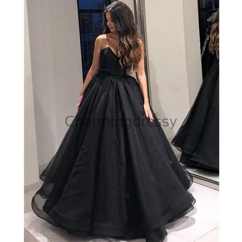 A-line Black Organza-Sweetheart Floor Length Sexy Prom Dresses, Evening Dress PD1983