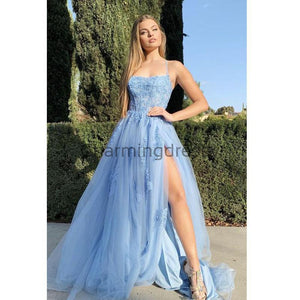A-line Blue Lace Spaghetti Straps Modest Popular Prom Dresses PD2127