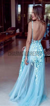 A-line Blue Tulle Fashion Long Modest Prom Dresses with Appliques PD1963