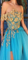 A-line Blue Tulle Gold Appliques Off the Shoulder Formal Prom Dresses PD2129