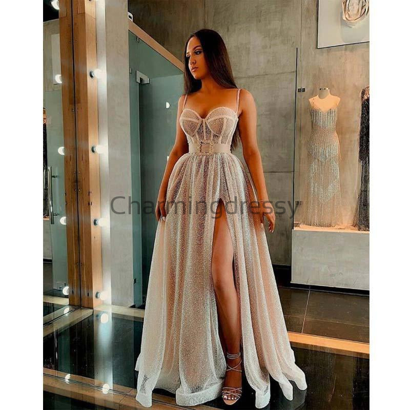A-line Charming Spaghetti Straps Sequin Side Slit Modest Prom Dresses PD1984