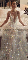 A-line Charming Sparkly Sequin V-Neck Shinning Prom Dresses PD1985