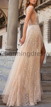 A-line Deep V-Neck Lace Sleeveless Fashion Popular Prom Dresses PD1986