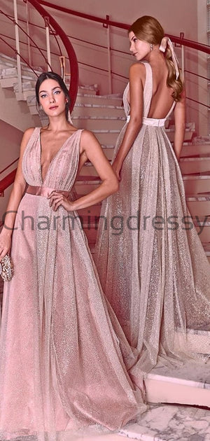 A-line Deep V-Neck Sparkly Sequin Fashion Formal Prom Dresses PD1987