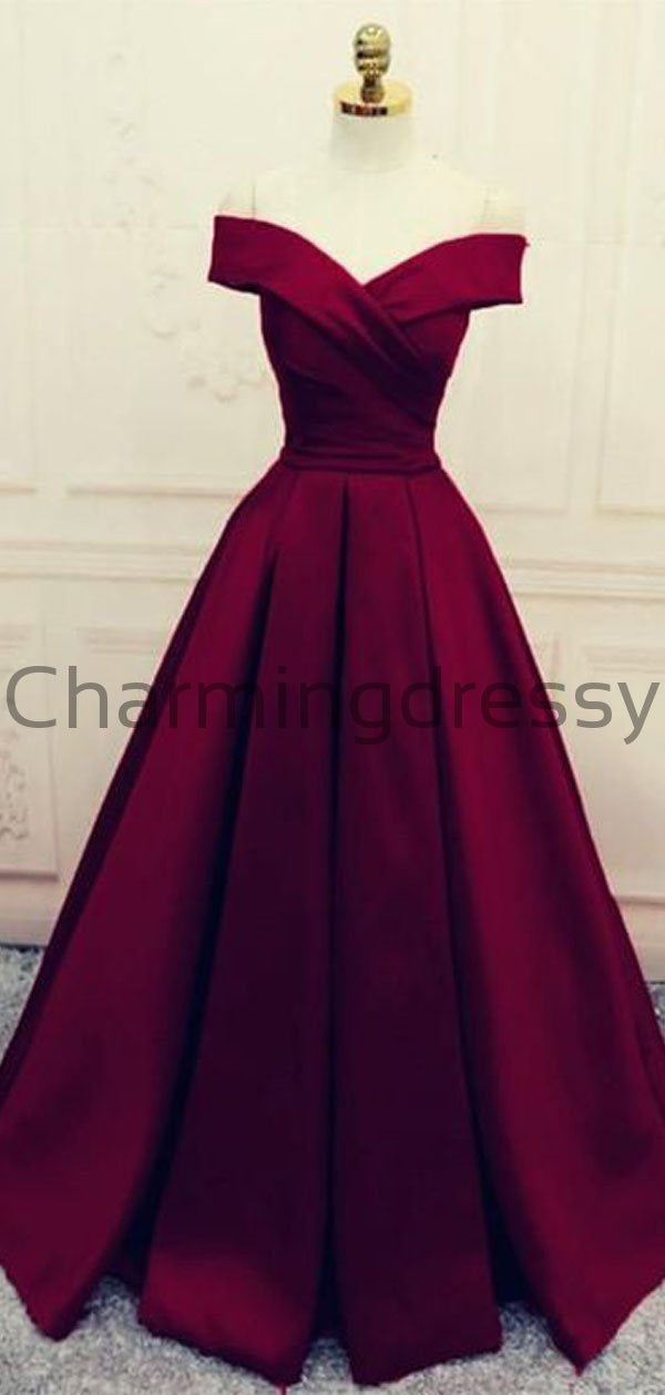 A-line Off the Shoulder Burgundy Satin Modest Simple Prom Dresses PD1992