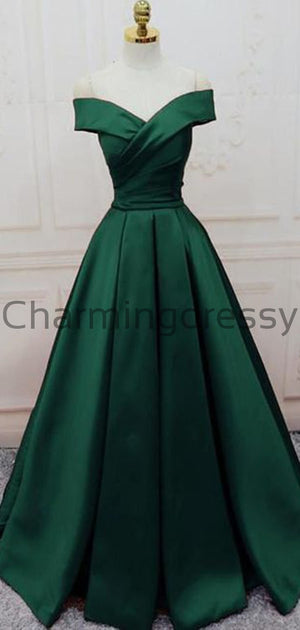 A-line Off the Shoulder Green Satin Modest Simple Prom Dresses PD1993