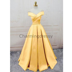 A-line Off the Shoulder Yellow Satin Modest Simple Prom Dresses PD1996