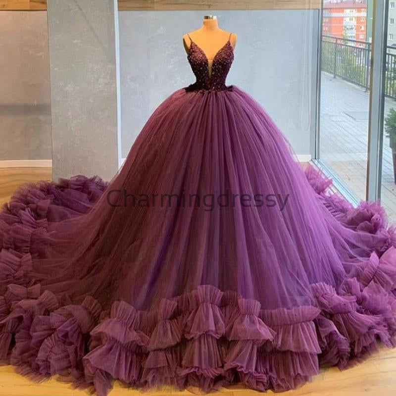 A-line Purple Spaghetti Straps Tulle Gorgeous Prom Dresses, Ball Gown PD1989
